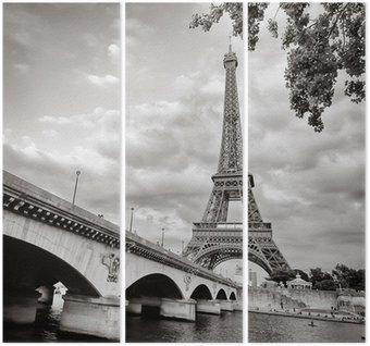 Triptyque La tour Eiffel vue depuis la Seine au format carré