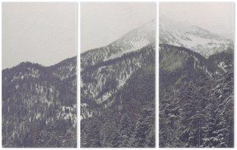 Triptyque Le mouvement des nuages plus lointain sommet de la montagne