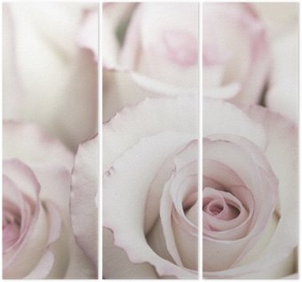 Triptyque Les roses roses lumineuses