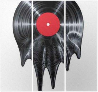Triptyque Melting disque vinyle / 3D render du disque vinyle fusion