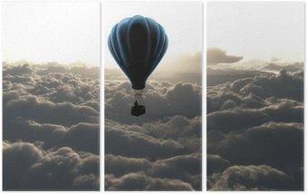 Triptyque Montgolfière dans le ciel
