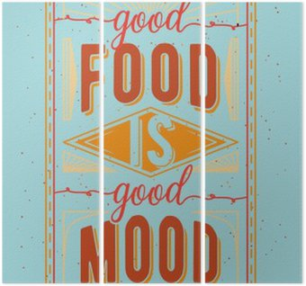 Triptyque Nourriture vintage citation typographique liés
