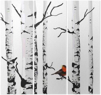 Triptyque Oiseau de bouleaux, dessin vectoriel avec des éléments modifiables.