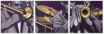 Triptyque Orchestre de jazz avec trompette trombonne contrebasse et batterie