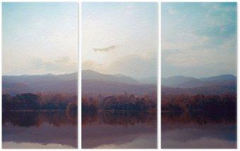 Triptyque Paysage de montagnes de lac en automne - style vintage.