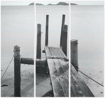 Triptyque Pier aller en mer, noir et blanc