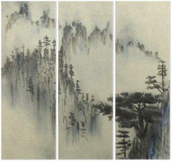 Triptyque Pin ponderosa et le brouillard
