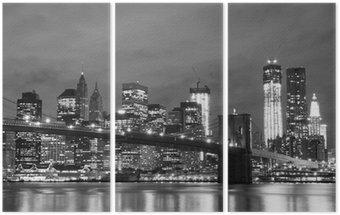 Triptyque Pont de Brooklyn et Manhattan Skyline At Night, New York City