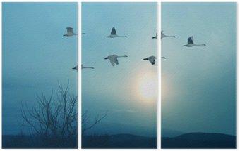Triptyque Printemps ou à l'automne migration des grues