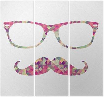 Triptyque Rétro hippie face à des icônes géométriques