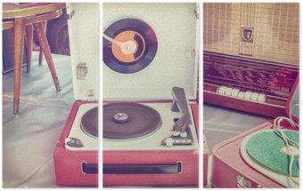 Triptyque Rétro image de style d'un vieux tourne-disque