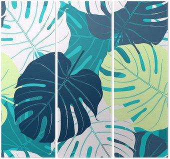 Triptyque Seamless avec des feuilles de palmier