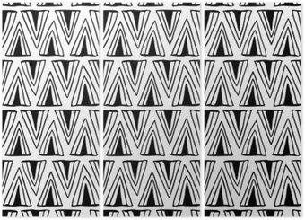 Triptyque Seamless noir et blanc avec des triangles.