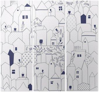 Triptyque Seamless pattern. Figure villes de style vintage.