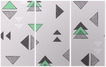 Triptyque Seamless triangles dessinés à la main.