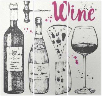 Triptyque Set à vin. produits de vinification dans le style d'esquisse.