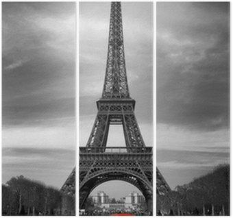 Triptyque Tour Eiffel et voiture rouge-Paris
