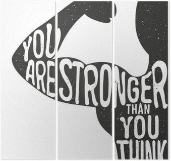 Triptyque Tu es plus fort que tu ne le penses. Lettrage affiche typographique vintage. De motivation et d'inspiration illustration vectorielle, l'homme silhouette et devis. club de remise en forme et le modèle de la publicité de musculation.
