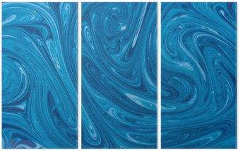 Triptyque Turquoise aquarelle fond de marbre