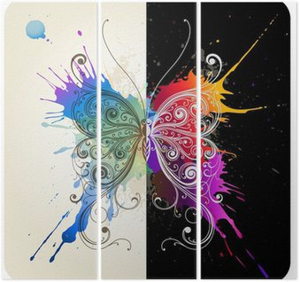 Triptyque Vector decorative butterfly