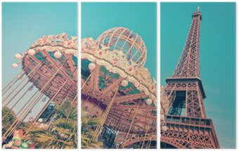 Triptyque Vintage merry-go-round et la tour Eiffel, Paris France