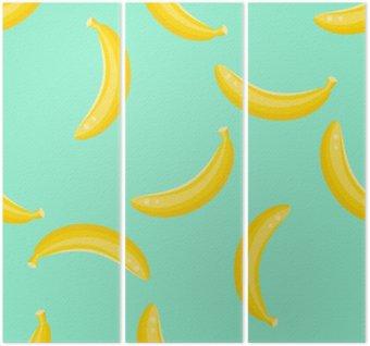 Trittico Banana frutta vettore modello senza soluzione di continuità. Giallo alimento banana sfondo sul verde menta.