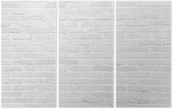 Trittico Bianco muro di mattoni grunge texture di sfondo