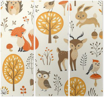 Trittico Foresta di autunno seamless con simpatici animali