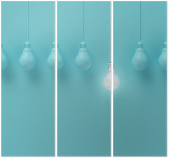 Trittico Hanging lampadine con incandescente un'idea diversa su sfondo azzurro, concetto idea minimale, distesi, top