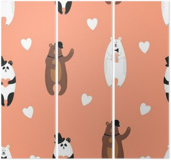 Trittico Orsi modello. sfondo romantico senza soluzione di continuità con orso polare, orso bruno e panda.