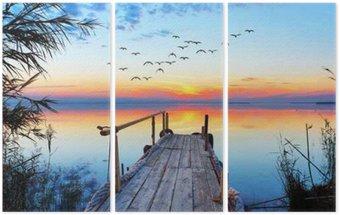 Trittico Paisaje naturale de un lago