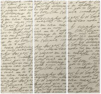Trittico Scrittura a mano astratto su vecchia carta d'epoca. Seamless pattern, vec