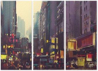 Trittico Traffico cittadino e la luce colorata a Hong Kong, illustrazione pittura