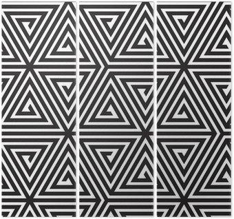Trittico Triangoli, in bianco e nero astratta Seamless geometric pattern,