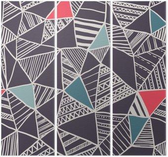 Tryptyk Abstrakcyjna powtarzalny doodle wzór