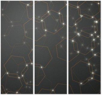Tryptyk Abstrakcyjne tło komórek sześciokątnych, geometryczne projektowania ilustracji wektorowych eps 10