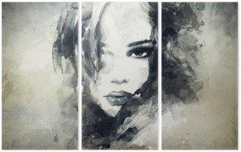 Tryptyk Abstrakcyjny portret kobiety