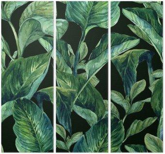 Tryptyk Akwarela Jednolite tło z tropikalnych liści