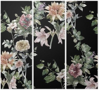 Tryptyk Akwarela liści i kwiatów, szwu na ciemnym tle,