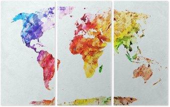 Tryptyk Akwarela mapa świata
