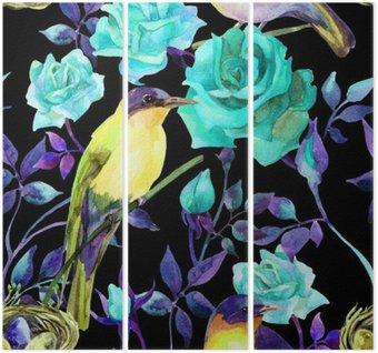 Tryptyk Akwarela na ptaki niebieskie róże