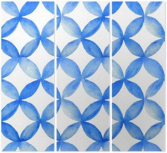 Tryptyk Akwarela niebieski wzór japoński.