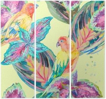 Tryptyk Akwarela Papugi .Tropical kwiatów i liści. Egzotyczny.