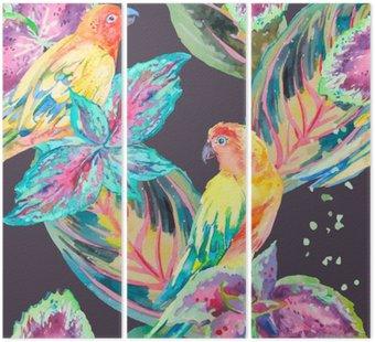 Tryptyk Akwarela Papugi .Tropical kwiatów i liści.