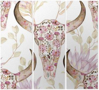 Akwarela szwu z czaszki w kwiaty, Protea. Kwiatowej dekoracji, ilustracji wektorowych