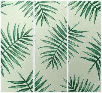 Tryptyk Akwarela tropikalnych liści palmowych szwu wzorca. ilustracji wektorowych.