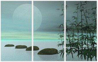 Tryptyk Asian kroków do księżyca - 3d render