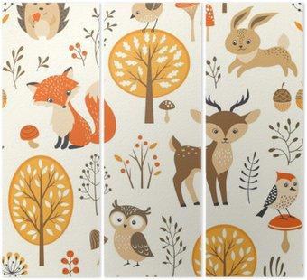 Tryptyk Autumn forest szwu z uroczych zwierzątek