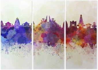 Tryptyk Bali skyline w tle akwareli