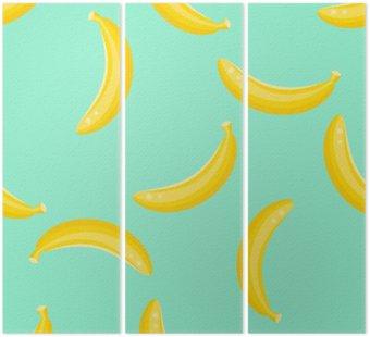 Tryptyk Banana owoce bez szwu wektor wzorca. Żółty banan żywności tła na zielonej mięty.